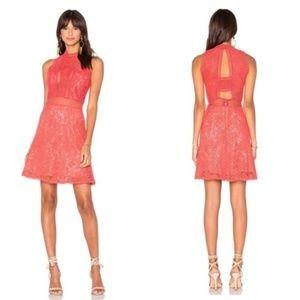 Rebecca Taylor Arella Lace Dress Ladybug Coral Sz6